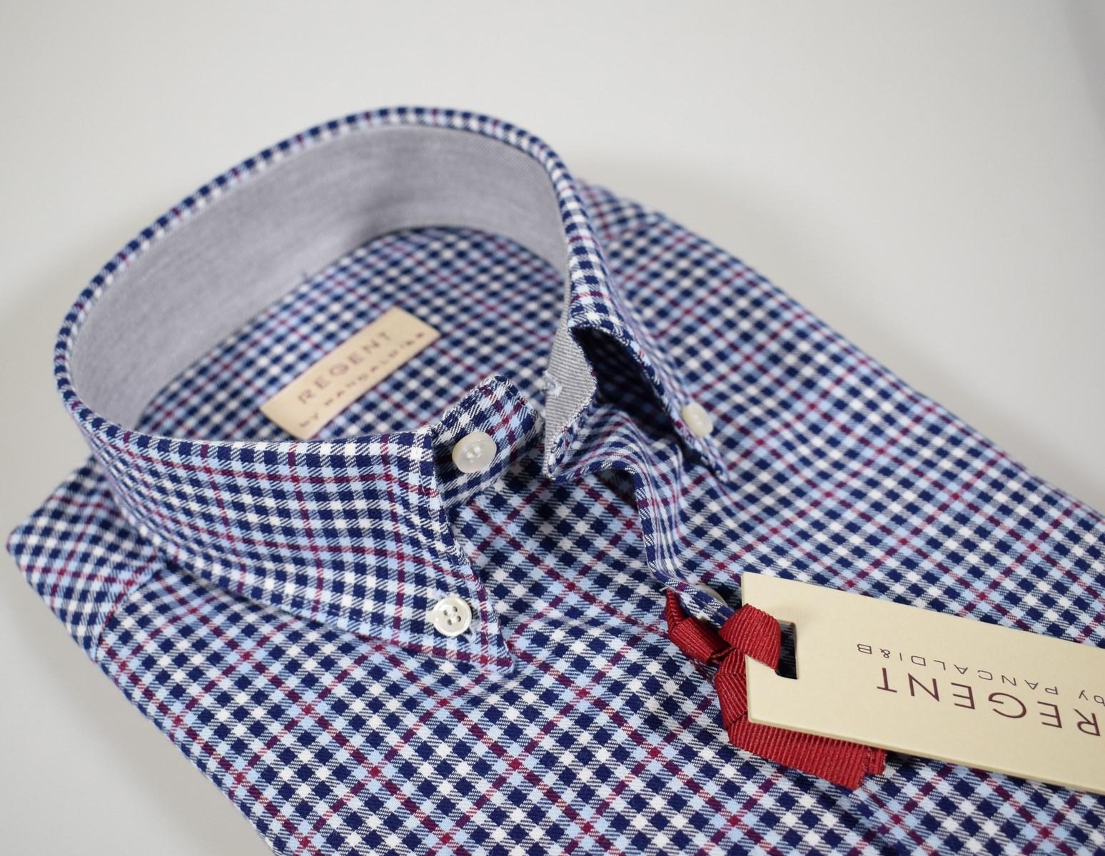 online store d633a 9d4da Dettagli su Camicia Regent by Pancaldi Button Down Regular Fit in flanella  rasata a quadri